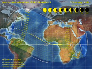 The path of the solar eclipse of November 3, 2013.  Click to enlarge.  Image credit: www.eclipse-maps.com