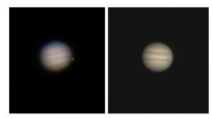 "Jupiter at a magnification of 100x in a telescope of 2"" aperture (left) and 4"" aperture"
