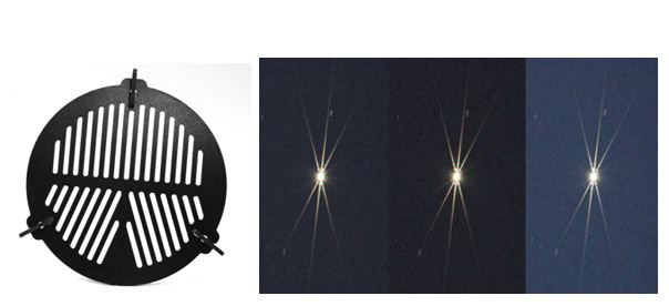 A Bahtinov mask (left); images of a star through a Bahtinov mask showing underfocus on the left side, overfocus at right, and perfect focus at middle where the vertical diffraction spike lies exactly between the diagonal spikes.