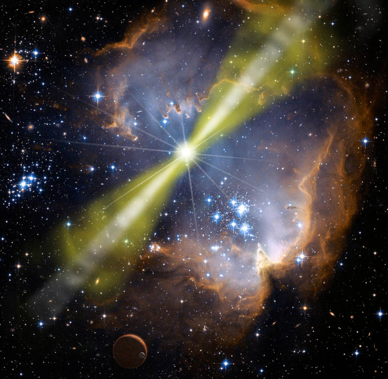 Artist's conception of a long gamma-ray burst (Credit: NASA/Swift/Mary Pat Hrybyk-Keith and John Jones)
